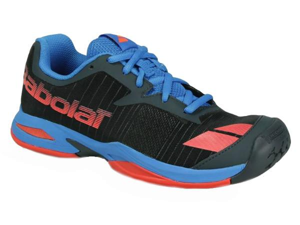 Junior Shoes - Babolat Junior Jet All Court Tennis Shoe Grey/Red/Blue