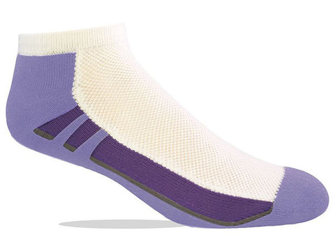 Jox Sox Cushioned Women's Low Cut Socks White/ Purple