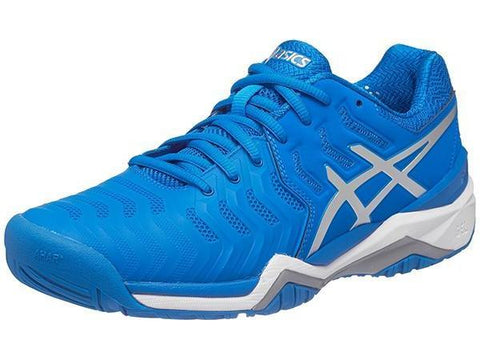 Men's Shoes - Asics Gel Resolution 7 Blue/Silver/White Men's Shoes E701Y-4393