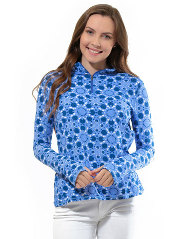 All For Color Quarter Zip Cooling Top Sun Seeker Blue
