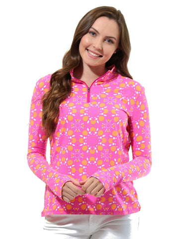 All For Color Quarter Zip Cooling Top Sun Seeker Pink