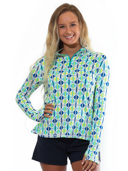 All For Color Quarter Zip Cooling Top Chasing Waterfalls Aqua