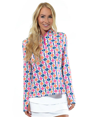 All For Color Quarter Zip Cooling Top Chasing Waterfalls Pink
