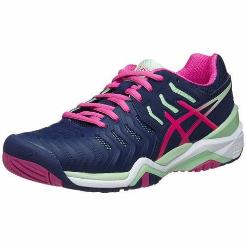 Women's Apparel - Asics Gel Resolution 7 Indigo Blue/Pink Glow/Green Women's Shoes
