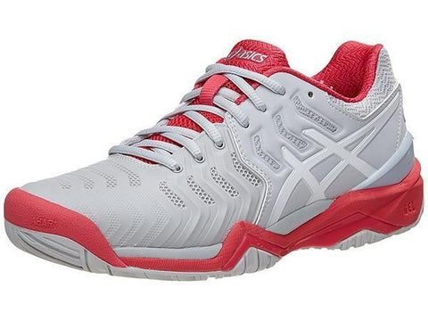 Women's Shoes - Asics Gel Resolution 7 Glacier Grey/White/Rouge Red Women's Shoes E751-9601