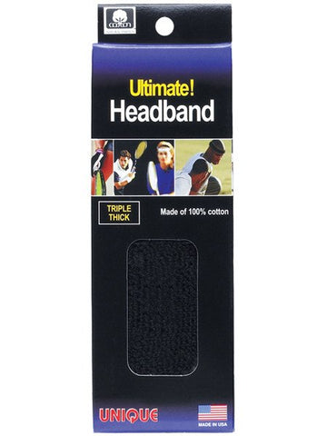 Wristbands And Headbands - Tourna Ultimate HeadBand Black - 3 Ply