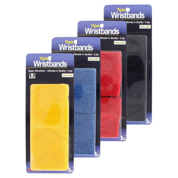 Wristbands And Headbands - Tourna WristBand- Thick Black 2-Ply
