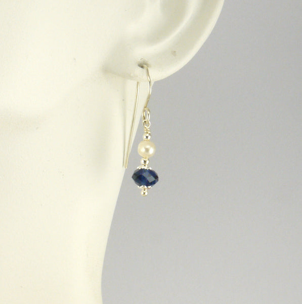 Indigo and Pearl Earrings - Giulian Lyn