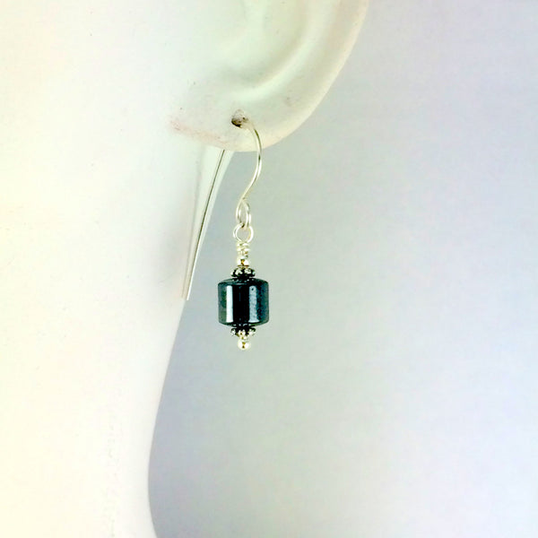 Hematite Barrel Earrings Short - Giulian Lyn
