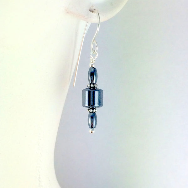 Hematite Barrel Earrings Long - Giulian Lyn