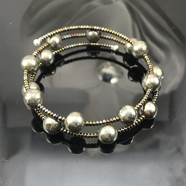 Pyrite Memory Wire Double Wrap Bracelet
