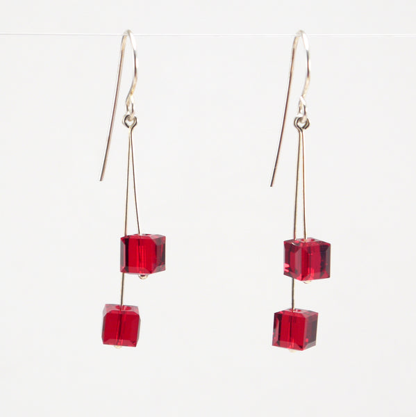 Red Cube Crystal Earrings
