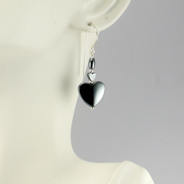 Hematite Heart Earrings - Giulian Lyn