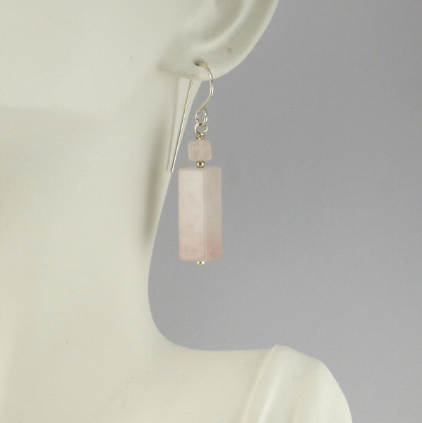 Large Rose Quartz Earrings
