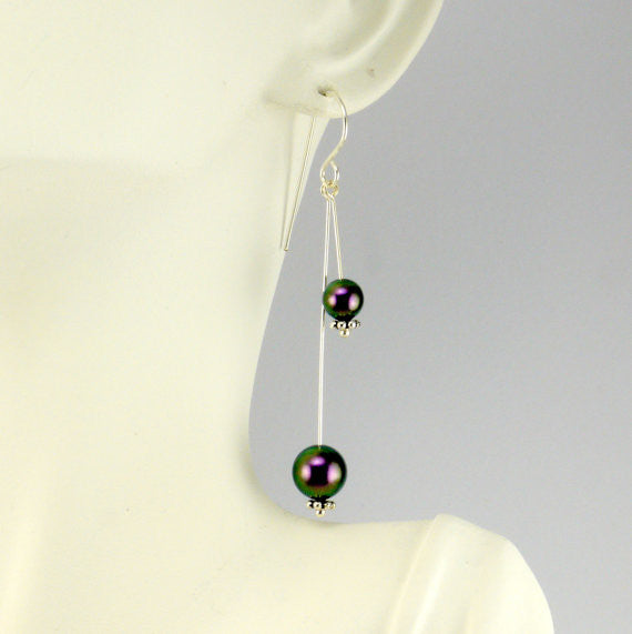 Swarovski purple pearl earrings - Giulian Lyn