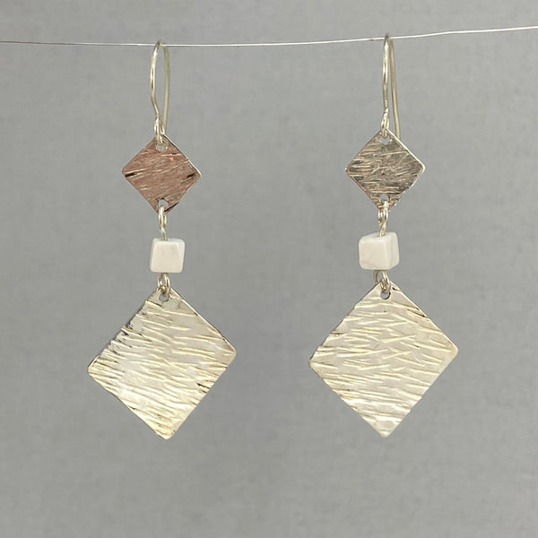 Hammered Sterling and White Howlite Earrings