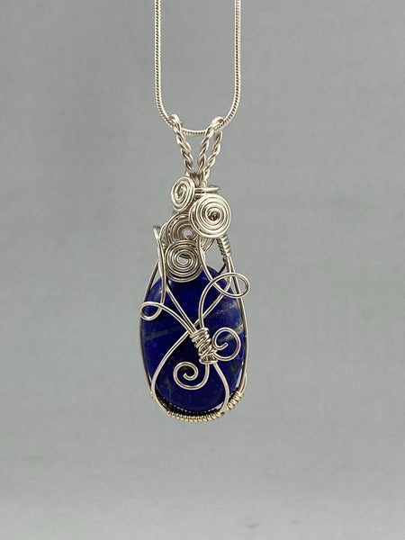 Lapis Wire Wrapped Pendant