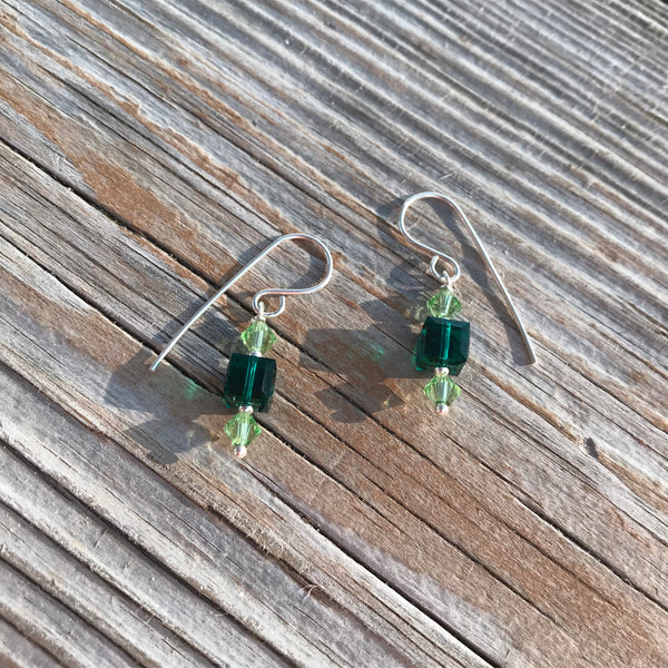 Emerald and Peridot crystal earrings