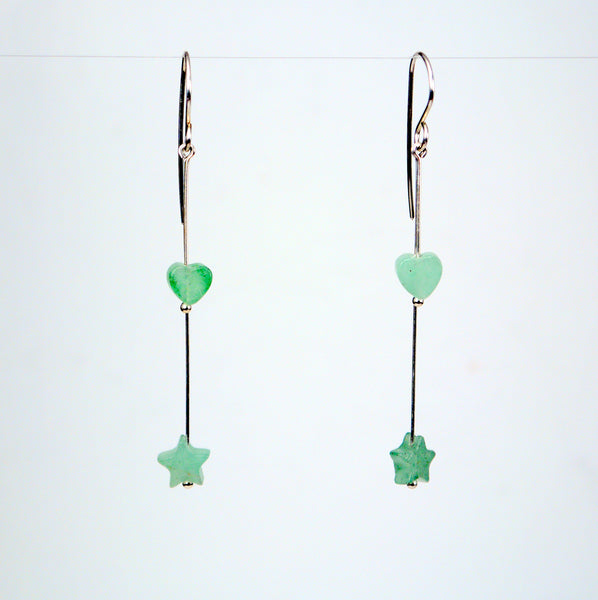 Aventurine Stars and Hearts Earrings