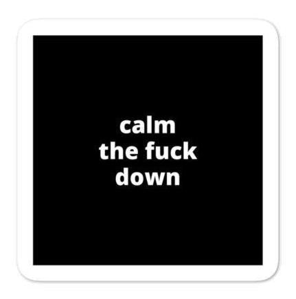 "2x2"" Quote Stickers (4) - Calm The F* Down"