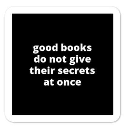 "2x2"" Quote Stickers (4) - Good Books Do Not Give Their Secrets At Once"