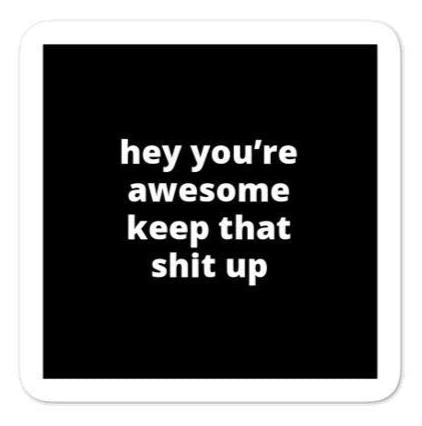 "2x2"" Quote Stickers (4) - Hey You're Awesome Keep That Sh* Up"