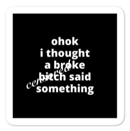 "2x2"" Quote Stickers (4) - Ohok I Thought a Broke B* Said Something"