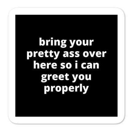 "2x2"" Quote Stickers (4) - Bring Your Pretty A* Over Here So I Can Greet You Properly"