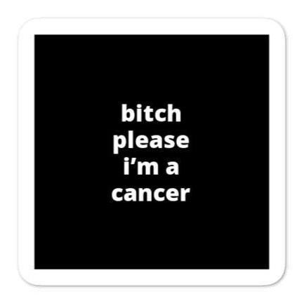 "2x2"" Quote Stickers (4) - B* Please I'm a Cancer"
