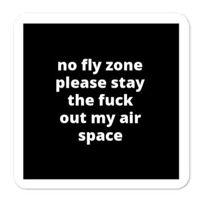 "2x2"" Quote Stickers (4) - No Fly Zone Please Stay The F* Out My Air Space - J. Cole"