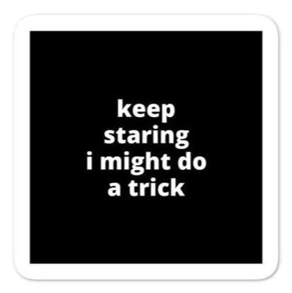 "2x2"" Quote Stickers (4) - Keep Staring I Might Do A Trick"