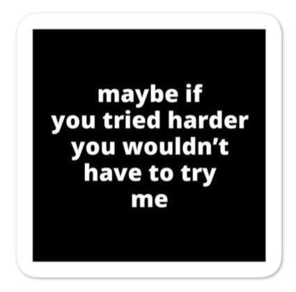 "2x2"" Quote Stickers (4) - Maybe If You Tried Harder You Wouldn't Have to Try Me"