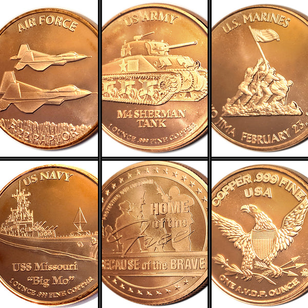 Military Series 1 oz Copper Coin Set