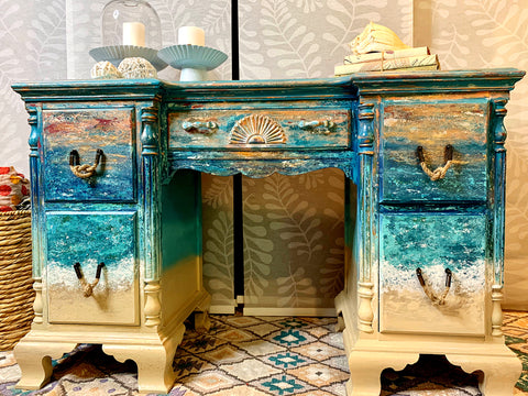 { SOLD } Coastal Beach Ocean Inspired Vanity or Desk { SOLD }