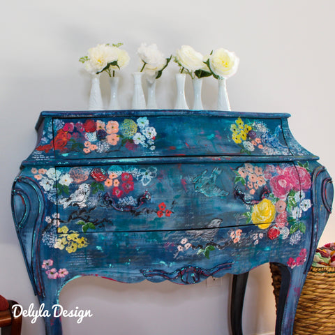 { SOLD } French Floral Hand Painted Cabinet