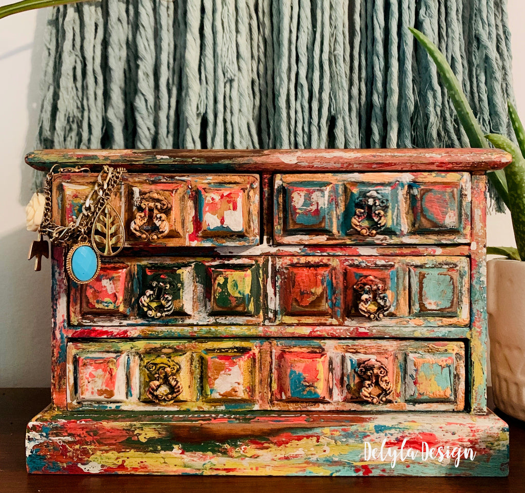 Vintage Jewelry Box Boho Artistic Layered Finish { SOLD }