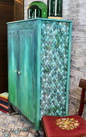 { SOLD } Boho Vibe Layered Painted Wardrobe Closet Armoire { Sold }