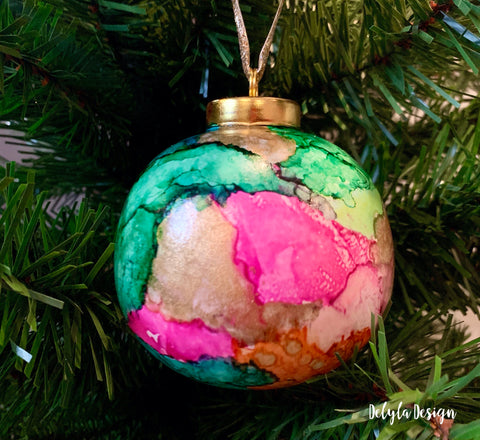 Alcohol Ink Holiday Ornament ( Color Block )