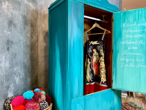 { SOLD } Boho Vibe Shades of Turquoise Wardrobe Closet Armoire { Sold }