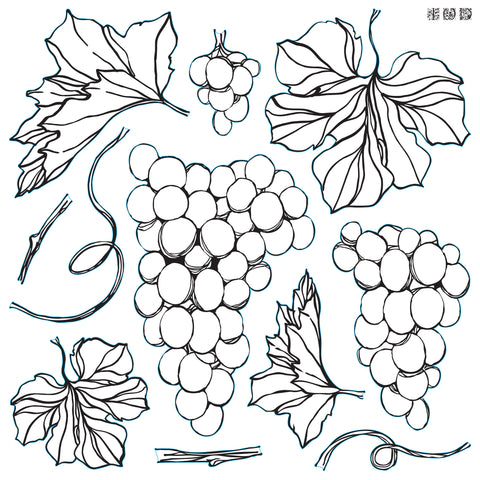 IOD Decor Stamp- Grapes 12 X 12 Stamp ** PREORDER***