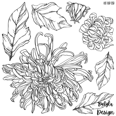 IOD Decor Stamp-  Chrysanthemum 12 X 12 Stamp ***PREORDER***