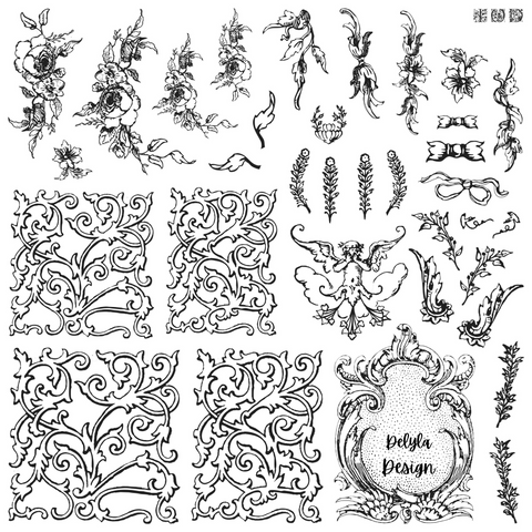 IOD Decor Stamp-  Alphabellies 12 X 12 Stamp ***PREORDER***