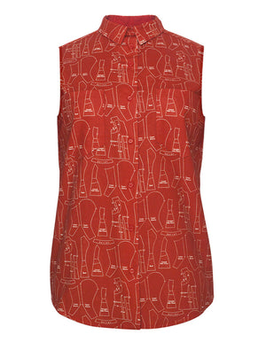 Patterns Red Sleeveless