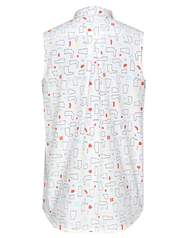 Patterns White Sleeveless