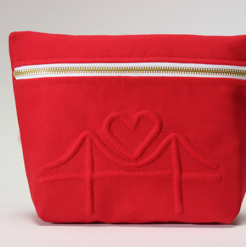 Red Golden Gate Bridge with Heart Cosmetic Bag