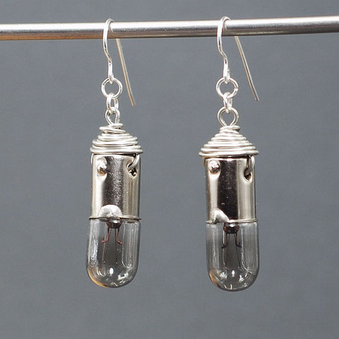 Upcycled Burnt Out Vintage Miniature Light Bulb Steampunk Earrings