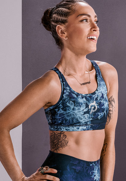 Peloton Teal Twist Strappy Bra