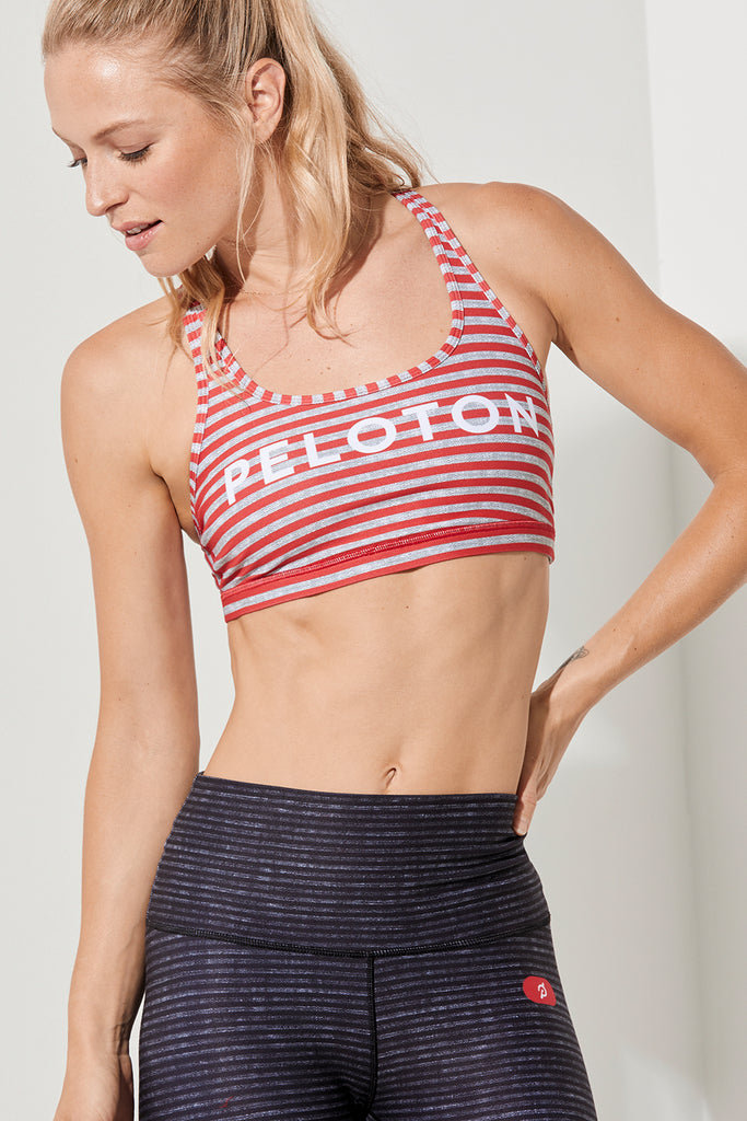 Peloton Cherry Stripe Strappy Bra