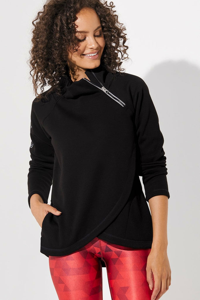 Side Zip Patch Sweatshirt
