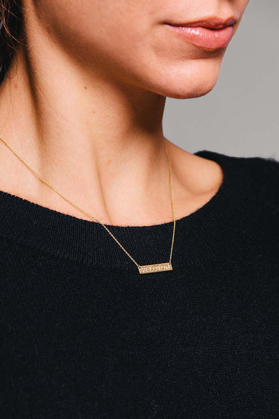 14K Yellow Gold Bar Necklace